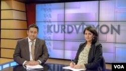 Kurdvizyon hosts Mutlu Civiroglu (L) and Ruken Isik
