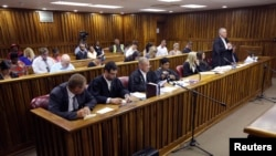 A general view of the courtroom during a bid by Oscar Pistorius's defence team to challenge the prosecution's right to appeal the culpable homicide verdict handed down to Pistorius in 2014, in the Johannesburg High Court, March 13, 2015.