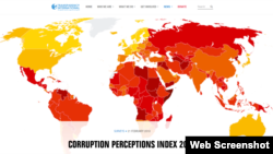 Corruption Perceptions Index 2017 issued by Transparent International on February 22, 2018. (Web screenshot)