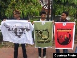 Desakan penghentian kriminalisasi petani dan aktivis agraria. (courtesy: KPA)
