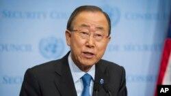 지난 9일 뉴욕 유엔본부에서 기자회견을 열어 이날 북한이 감행한 5차 핵실험을 비난하고 있는 반기문 유엔사무총장. (자료사진)