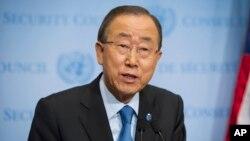 Sekretaris Jenderal PBB, Ban Ki-moon berbicara kepada media di markas PBB di New York (foto: dok).