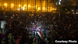 Celebrations in Cairo's Tahrir Square of Abdel Fattah el-Sissi's inauguration as Egypt's new president, June 8, 2014. (Courtesy - Hamada Elrasam)