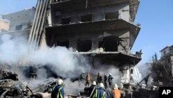 Moja ya majengo yaliyolipuliwa Damascus Jumamosi Machi 17, 2012