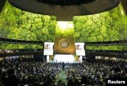 اقوام متحدہ کے تحت آب و ہوا کی تبدیلی پر عالمی کانفرنس کا افتتاحی اجلاس۔