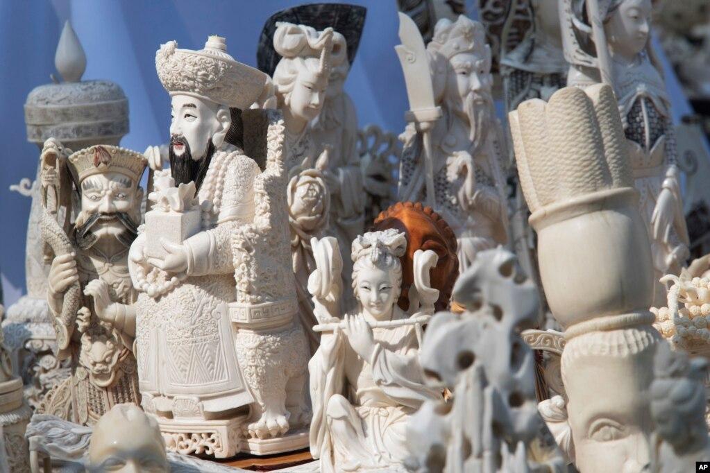 """纽约中央公园展示的将被销毁的象牙雕塑品(2017年8月3日)。纽约最高检察官联合一家动物保护组织销毁了价值超过四百万美金的象牙制品,以显示象牙属于大象而不是装饰柜。经过三年调查,这次查获的象牙制品被碎石机碾成粉末。此举凸显了他们对于根除非法象牙贸易的决心。销毁活动的联合发起方、环保组织""""野生动物保护中心""""表示,有100只濒临灭绝的大象被屠杀,做成了这次被销毁的象牙制品。全球象牙贸易在1990年被定为非法,但是黑市交易仍旧猖獗。"""