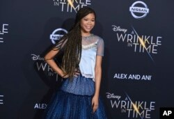 "Storm Reid arrives at the world premiere of ""A Wrinkle in Time"" in Los Angeles, Feb. 26, 2018."