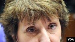 Kepala Urusan Luar Negeri Uni Eropa Catherine Ashton di Brussels, Senin (31/1).