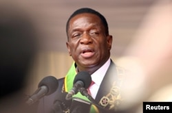 FILE - Emmerson Mnangagwa speaks after being sworn in as Zimbabwe's president in Harare, Zimbabwe, Nov. 24, 2017.