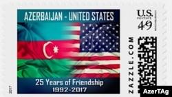 Azərbaycan və ABŞ bayraqlarının əks olunduğu poçt markası