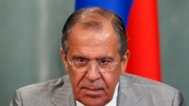 Russia's Foreign Minister Sergei Lavrov attends a news conference after a meeting with his Mauritanian counterpart Ahmed Teguedi in Moscow, June 2, 2014.