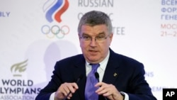 FILE - International Olympic Committee (IOC) President Thomas Bach speaks at the World Olympians Forum in Moscow, Russia.
