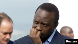 Rais wa Kenya Uhuru Kenyatta alipokuwa akizungumza na Wakenya wa ng'ambo Disemba 2002.