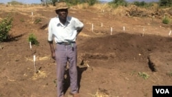 A villager showing part of his field that has been demined by Halo Trust in Mukumbura communal lands.