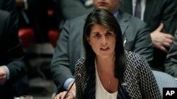 L'ambassadrice américaine à l'ONU, Nikki Haley, prend la parole lors d'une réunion Conseil de sécurité, New York, 13 avril 2018.