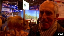 Joseph Rolland, whose son raises cows near Nantes, supports Macron. France needs change, he says. (VOA/Lisa Bryant)