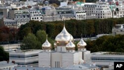 FILE - In this Sept. 28, 2016 photo, the new Russian Orthodox church is pictured in Paris, Sept. 28, 2016.