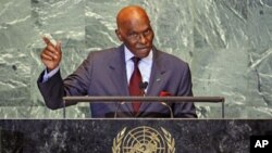 Senegal's President Abdoulaye Wade addresses the 66th United Nations General Assembly at the U.N. headquarters, in New York, September 21, 2011.