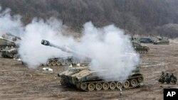 13일 경기도 파주에서 북한도발에 대비 훈련중인 한국군