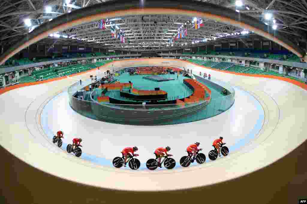 Chinese women track cycling team trains at the olympic velodrome in Rio de Janeiro, Brazil.
