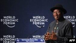 Tổng thống Nigeria Goodluck Jonathanh tại buổi khai mạc Diễn đàn Kinh tế Thế giới 8/5/14