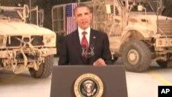 بارک اوباما حین سخنرانی از میدان هوایی بگرام