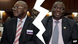 Warring Movement for Democratic Change (MDC-T) faction leaders, Tendai Biti and Morgan Tsvangirai. (AP Photos/Collage by Ntungamili Nkomo)