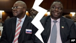 MDC Renewal Team's Tendai Biti and MDC T's Morgan Tsvangirai. (AP Photos/Collage by Ntungamili Nkomo)