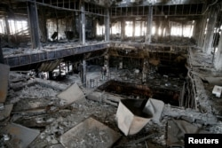 General view of the library of the University of Mosul burned and destroyed during the battle with Islamic State militants, in Mosul, Jan. 30, 2017.
