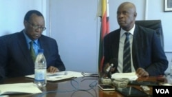 Finance Minister Patrick Chinamasa and Agriculture Minister Joseph Made (right). (Photo/Irwin Chifera)