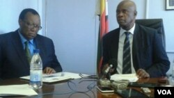 Finance Minister Patrick Chinamasa (right) and Agriculture Minister Joseph Made (left). (Photo/Irwin Chifera)