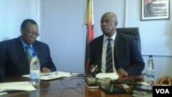 FILE - Zimbabwe's Finance Minister Patrick Chinamasa and Agriculture Minister Joseph Made (right). (Photo/Irwin Chifera)