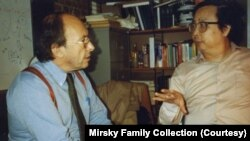 FILE - Jonathan Mirsky, left, with Fang Lizhi, a Chinese astrophysicist who was also one of the country's most celebrated dissidents.