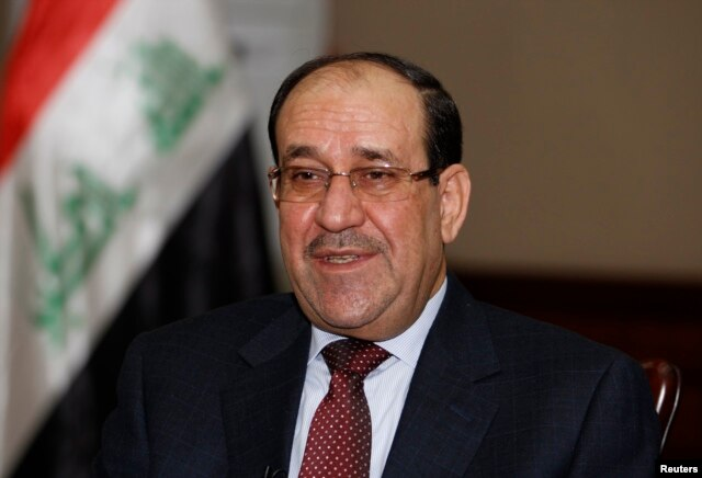 Nuri al-Maliki speaks during an interview with Reuters in Baghdad, Jan. 12, 2014.