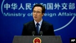 정례 브리핑 중인 훙레이 중국 외교부 대변인. (자료사진)
