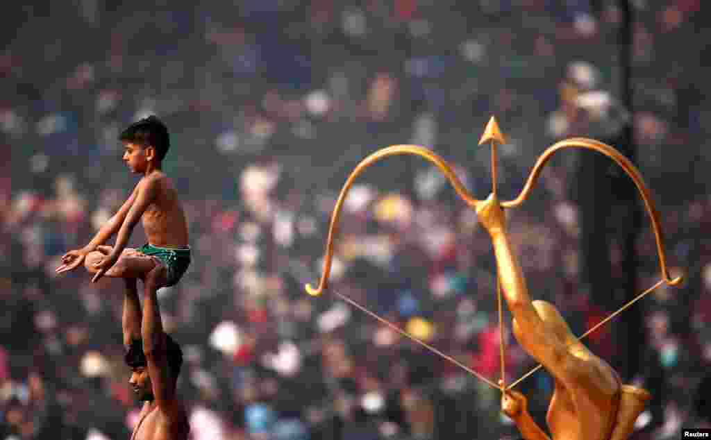 Indian artists perform during the Republic Day parade in New Delhi, India.