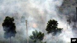 Polusi asap akibat kebakaran hutan di Riau, Sumatera (foto: dok). Indonesia berjanji untuk meningkatkan perlindungan hutannya dalam acara di PBB, Kamis (24/9).