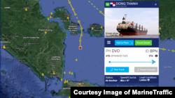 인도네시아에서 북한산 석탄을 싣고 말레이시아로 향하던 선박 동탄호가 입항이 거부된 후 다시 인도네시아 인근 해상으로 돌아온 것으로 28일 확인됐다. 선박의 실시간 위치를 보여주는 마린트래픽(Marine Traffic) 제공 자료.