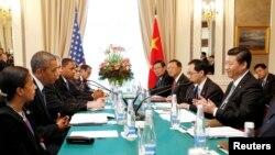 美國總統奧巴馬與中國國家主席習近平在聖彼得堡峰會期間會晤