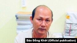 Ông Nguyễn Văn Công Em, cư dân huyện Giồng Trôm, tỉnh Bến Tre, bị bắt về cáo buộc kêu gọi biểu tình trong thời gian hội nghị thượng đỉnh Mỹ-Triều diễn ra. (Hình: Báo Đồng Khởi)