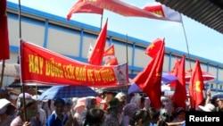 Công nhân tỉnh Thái Bình biểu tình.