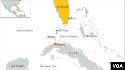 Bản đồ chặng đường bơi Havana-Florida của bà Diana Nyad
