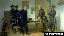 Alonzo Chappel, Lee Surrendering to Grant at Appomattox, c. 1870 . Courtesy of the Smithsonian American Art Museum, gift of Nancy L. Ross in memory of Patricia Firestone Chatham
