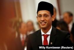 Menteri Pendidikan, Kebudayaan, Riset dan Teknologi Nadiem Makarim saat pelantikan sebagai Mendikbud di Istana Kepresidenan, Jakarta, 23 Oktober 2019. (Foto: Willy Kurniawan/Reuters)