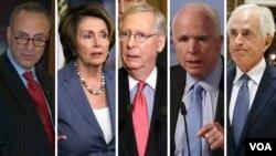 از راست: کورکر، مک کین، مککانل، پلوسی و شومر از اعضای ارشد کنگره آمریکا