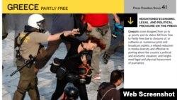 H ιστοσελίδα του Freedom House για την Ελλάδα