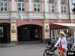 莫斯科市中心的乌克兰文化中心 (美国之音白桦 拍摄)