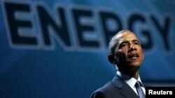 바락 오바마 대통령이 지난해 8월 네바다주 라스베거스에서 열린 '전미 청정에너지회의'에서 연설하고 있다.