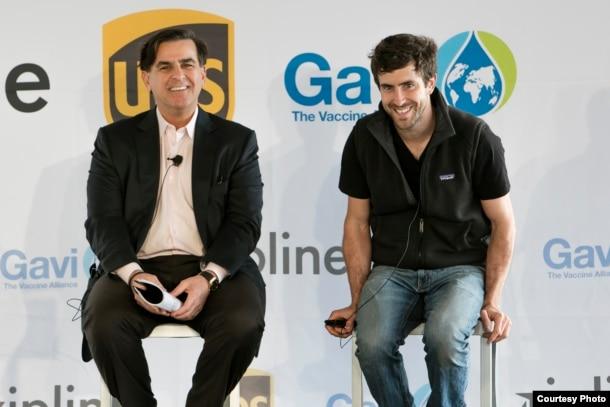 FILE - Zipline CEO Keller Rinaudo (R) is shown with Eduardo Martinez, president of The UPS Foundation. (Photo Courtesy of UPS)