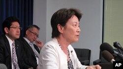 10일 기자회견에서 북한의 미국인 납치 의혹에 대해 발언하는 에리코 야마타니 일본 자민당 의원.